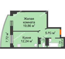 1 комнатная квартира 46,07 м² в ЖК Звезда, дом № 1 - планировка