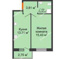 1 комнатная квартира 37,53 м² в ЖК Артемовский квартал, дом Секция 4 - планировка
