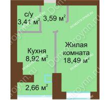 1 комнатная квартира 35,74 м² в ЖК Парк Горького, дом 62/6, № 3