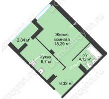 1 комнатная квартира 41,28 м² в ЖК На Вятской, дом № 3 (по генплану)