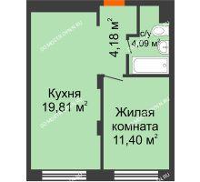 1 комнатная квартира 39,48 м², ЖК КМ Молодежный, 76 - планировка