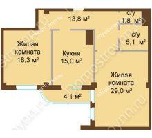 2 комнатная квартира 87,1 м², ЖК Бояр Палас - планировка