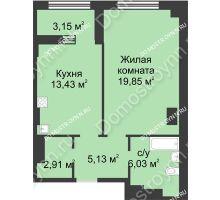 1 комнатная квартира 48,93 м² в ЖК Караваиха, дом № 5 - планировка
