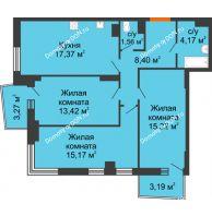 3 комнатная квартира 78,55 м² в ЖК Сердце Ростова 2, дом Литер 1 - планировка