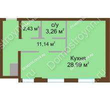 1 комнатная квартира 45,82 м² в ЖК Дом с террасами, дом № 1