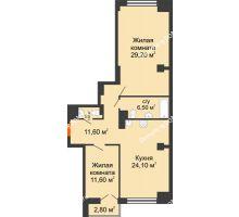 2 комнатная квартира 86,4 м², ЖК Гагарин - планировка