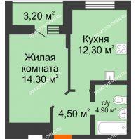 1 комнатная квартира 39,2 м² в ЖК Подкова на Цветочной, дом № 9 - планировка