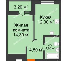 1 комнатная квартира 37,6 м² в ЖК Подкова на Цветочной, дом № 7 - планировка