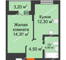 1 комнатная квартира 37,6 м² в ЖК Подкова на Цветочной, дом № 8 - планировка