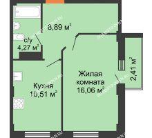 1 комнатная квартира 40,45 м² - ЖК Каскад на Ленина