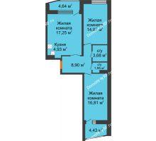 2 комнатная квартира 73,02 м², ЖК Русский Авангард - планировка