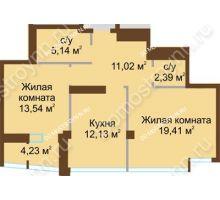 2 комнатная квартира 65,74 м², ЖК Либерти - планировка