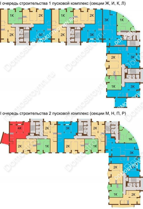 Планировка 9 этажа в доме № 89, корп. 1, 2 в ЖК Монолит