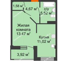 1 комнатная квартира 38,22 м² в Жилой район Берендей, дом № 14 - планировка