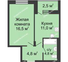 1 комнатная квартира 38,35 м² в ЖК Октава, дом №6 - планировка