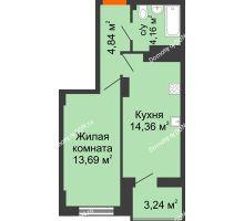 1 комнатная квартира 38,64 м² в ЖК Аврора, дом № 3 - планировка