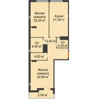 2 комнатная квартира 94,3 м² в ЖК Пять звёзд, дом Секция 4/2 - планировка