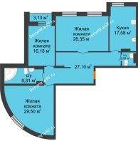 3 комнатная квартира 131,62 м², ЖК Адмиралъ - планировка