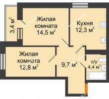 2 комнатная квартира 55,8 м² в ЖК Южный Берег, дом Литер 6 - планировка