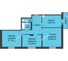 3 комнатная квартира 82,38 м² в ЖК Бограда 109, дом № 2 - планировка