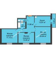 3 комнатная квартира 84,72 м² в ЖК Бограда, дом № 2 - планировка