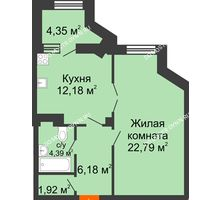 1 комнатная квартира 49,64 м² в ЖК Дом на Провиантской, дом № 12 - планировка