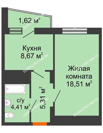 1 комнатная квартира 38,46 м² - Жилой дом Звездный
