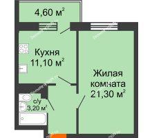 1 комнатная квартира 43 м² в ЖК Я, дом  Литер 2 - планировка