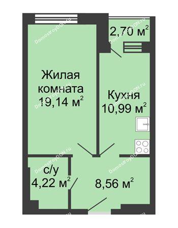 1 комнатная квартира 45,88 м² - ЖК Вдохновение