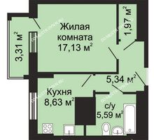 1 комнатная квартира 40,32 м², ЖК Гелиос - планировка