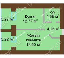 1 комнатная квартира 43,425 м² в ЖК Солнечный город, дом на участке № 214