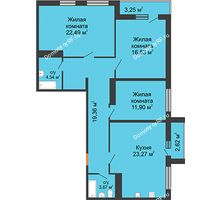 3 комнатная квартира 101,81 м² в ЖК Рекорд, дом 2 этап - планировка
