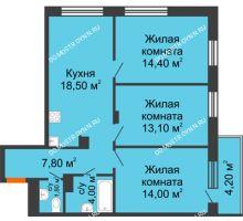 3 комнатная квартира 74,86 м² в ЖК Заречье, дом № 6 - планировка