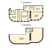 4 комнатная квартира 152,5 м² в ЖК Плотничный, дом № 2 - планировка
