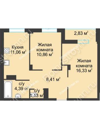 2 комнатная квартира 55,14 м² в ЖК На Вятской, дом № 3 (по генплану)