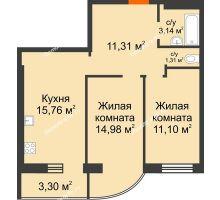 2 комнатная квартира 60,9 м², ЖК Адмирал - планировка