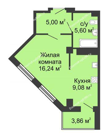 Студия 37,85 м² в ЖК Мега, дом № 2