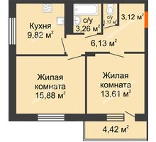2 комнатная квартира 55,2 м² в ЖК Циолковский, дом № 3 - планировка