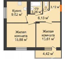 2 комнатная квартира 55,2 м² в ЖК Циолковский, дом № 5 - планировка