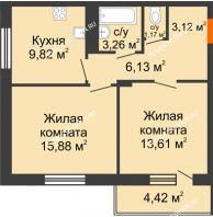 2 комнатная квартира 55,2 м² в ЖК Циолковский, дом № 6 - планировка