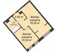 """2 комнатная квартира 37,53 м² в ЖК Европейский берег, дом ГП-9 """"Дом Монако"""" - планировка"""