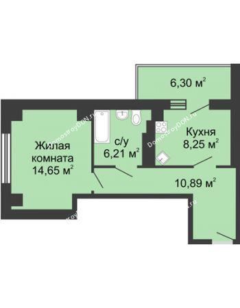 1 комнатная квартира 43,15 м² в ЖК Мега, дом № 2