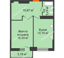 1 комнатная квартира 43,23 м², ЖК Орбита - планировка