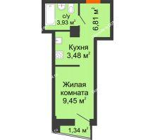 Студия 24,12 м² в ЖК Рубин, дом Литер 3 - планировка