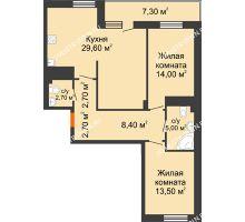 2 комнатная квартира 82,25 м² в ЖК Корица, дом № 1 - планировка