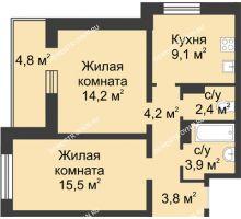 2 комнатная квартира 55,5 м² в ЖК Аквамарин, дом №8 - планировка