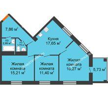 3 комнатная квартира 78,03 м², ЖК Командор - планировка