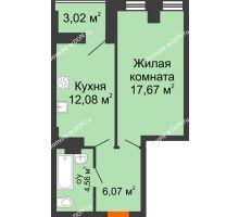 1 комнатная квартира 43,35 м², ЖК Штахановского - планировка