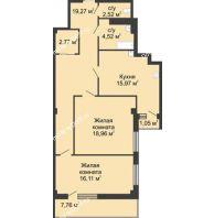 2 комнатная квартира 83,8 м² в  ЖК РИИЖТский Уют, дом Секция 1-2 - планировка