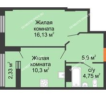 1 комнатная квартира 38,05 м² - ЖК Каскад на Ленина